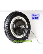 12inch 12 inch BLDC brushless non-gear double shafts dc hub wheel motor with tyre scooter motor phub-79