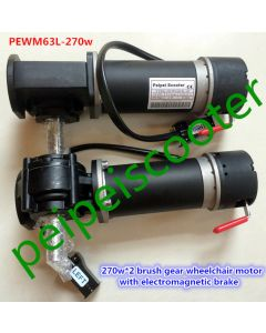 540w brushed gear electric wheelchair hub motor 270w*2 with with electromagnetic brake PEWM63L