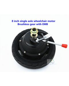 8 inch 8inch single axle brushless geared wheelchair robot dc hub motor with electromagnetic brake PEWM-58