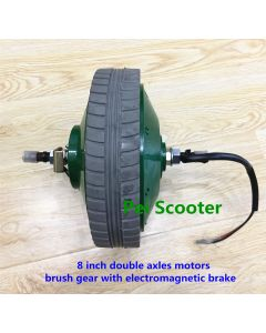 8 inch 8inch green color double shaft brushed geared dc hub motor with electromagnetic brake wheelchair motor phub-18b