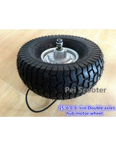 15inch 15 inch 15x6.00-6 tire BLDC double shafts brushless no-gear dc hub lawn mower motor for scooter DIY with tire phub-210