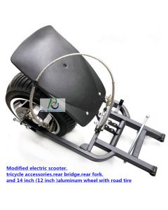Modified electric scooter,tricycle accessories,rear bridge,rear fork,and 14 inch (or 12'') aluminum wheel with road tire pwsp-06