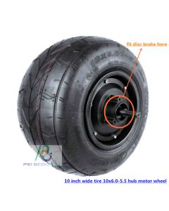 10inch 10 inch 10x6.0-5.5 wide tyre BLDC brushless gearless wheel hub motor power scooter hally motor with disc brake phub-147N