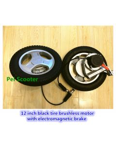 12 inch black tire brushless geared robot wheelchair dc motor with electromagentic brake EMB high quality for pair PEWM-20