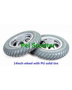 14inch wheelchair wheel with PU solid tire phub-14ww