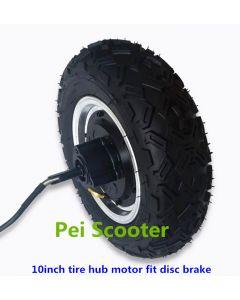 10 inch offroad tyre double axle brushless gearless dc hub wheel motor fit disc brake phub-10dd