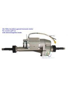 36v 500w brushless geared transaxle dc motor for scooter golf car with electromagnetic brake PPSM500W-01