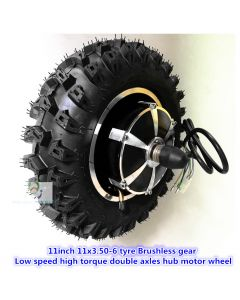 11inch 11x3.50-6 tyre Brushless gear low speed high torque double axles hub motor wheel phub-11hm