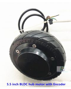 5.5 inch 5 inch tire BLDC single shaft brushless gearless hub wheel robot scooter motor with Encoder phub-55em