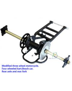 Modified three wheeled motorcycle, four wheeled kart, beach car, rear axle and rear fork PCS-07k