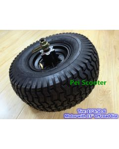 13 inch 13X6.50-6 wide off road tyre double axle brushless gearless dc scooter hub wheel motor can fit disc brake phub-167N