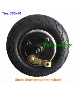 8 inch 200*50mm scooter hub wheel without motor,double axles free wheel with drum brake phub-8dw