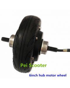 6 inch tyre double axle brushless gearless dc hub wheel motor fit up brake phub-6ub
