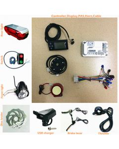 brushless motor scooter ebike conversion kits,controller and LCD display,throttle,brake lever,disc brake,lights,USB all-01