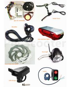 brushless motor scooter ebike conversion kits,controller,throttle,brake lever,disc brake,lights,USB charger all-02