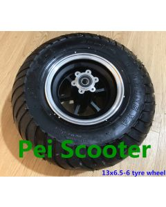13 inch 13inch 13X6.50-6 wide tyre double axle wheel can with disc brake phub-167TF