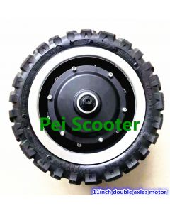 11 inch 11inch 5000w fast speed double axles BLDC brushless no-gear hub wheel motor with tyre,fit disc brake phub-11nm