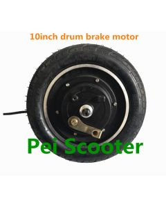 10 inch double axles brushless gearless dc hub motor wheel for scooter and electric bike with drum brake phub-10bm