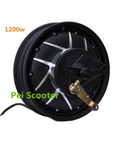 10inch 1200W rim DC double axle brushless gearless hub wheel Electric motorcycle scooter motor With drum brake phub-231