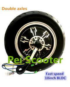 10 inch 10inch double axles BLDC strong power fast speed brushless hub wheel motor with tyre and hall sensor phub-10hp