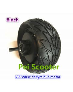 8 inch 200x90 Wide tire double shaft brushless dc electric scooter hub wheel motor with disc brake phub-299