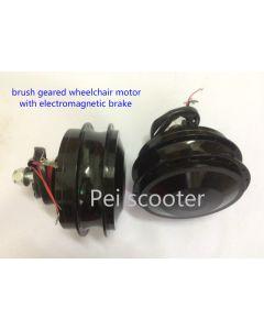 180w*2 brushed geared electric wheelchair spoke dc hub wheel motor with electromagnetic brake pewm-05