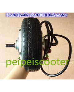 6 inch BLDC brushless no-gear dc scooter wheel hub motor double shafts with tire and hall sensor phub-161KA