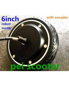 6 inch robot dc hub wheel motor brushless non-gear with tire and encoder inside phub-206