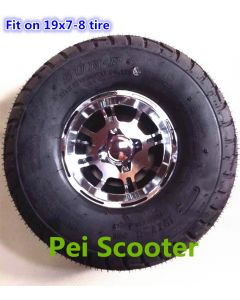 19x7.0-8 tyre 8 inch aluminum alloy hub wheel for wheelchair and robot motor,Also Can fit on 16x6.5-8 tire pwh-8