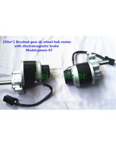 250w*2 Brushed gear dc wheel hub motor wheelchair scooter motor with electromagnetic brake Model:pewm-07