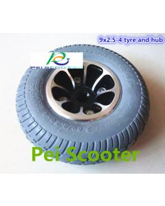 9inch 9inch aluminum alloy hub wheel motor with 9x2.5-4 solid tires for wheelchair motor and robot motor phub-9at